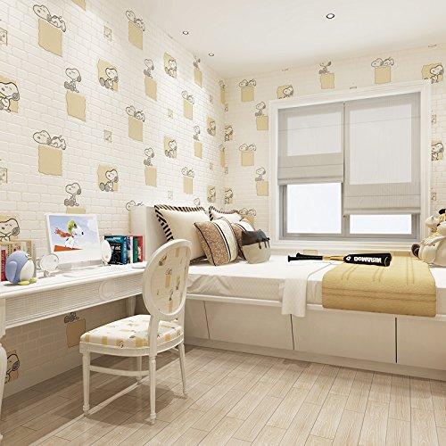 BTJC Mattone di carino per bambini Snoopy schiumato TNT sfondi salotto soggiorno TV sfondo wallpaper , meters yellow /x-36091