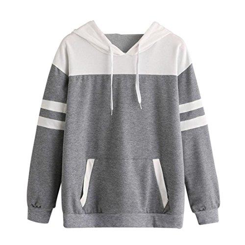 Hoodie Pullover Damen Btruely Herbst Winter Mädchen Kapuzenpullover Hooded Sweatshirt Casual Jacket Langarm Top (S, Grau) (Cropped Hooded Sweater)