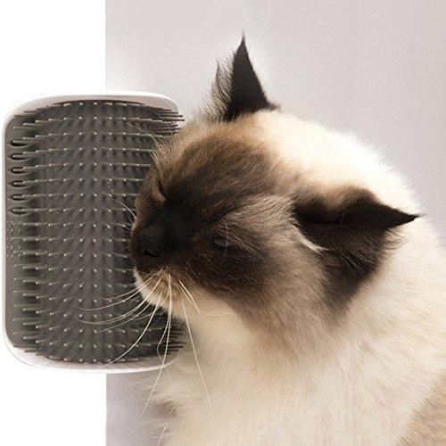 MMilelo Black Friday 2017 Deals Katzen Bürste Kamm Katze Selbst Groomer Comb Ecke Massage Maschine Katzenspielzeug Fellpflege Haar Bürste Haustier Zubehör (Grau)
