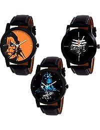 Shine Enterprise Analogue Multi Color Dial Men's Combo Of 3 Watch
