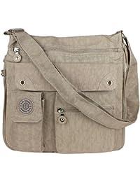 Bag Street Unisex Tasche Nylon Schultertasche Umhängetasche Crossbody Bag Beige