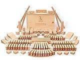CreaBLOCKS Holzbausteine Grundausstattung 120 Holzbausteine unbehandelt für Kinder ab 3 Jahren Bauklötze Naturbelassen Made in Germany (in der Schiebedeckelkiste)