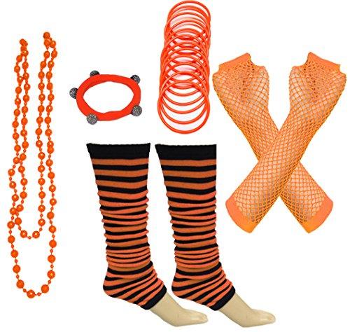 (A-Express 80er Damen Neon Streifen Beinstulpen Handschuhe Halskette Shamballa Tüll Fluo Ballett Verkleidung Party Tutu Kostüm Set)