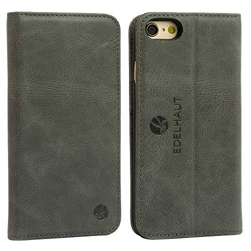 EDELHAUT Handytasche mit unsichtbarem Magnetverschluss in grau für Apple iPhone 7 und 8 4.7 aus echtem Leder