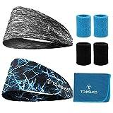 TOMSHOO Stirnbänder,Armbänder, Kühlhandtuch, 8 Pcs Fitness Set Sport Schweißband zum Laufen, Yoga, Training und Gymnastic