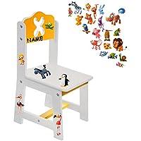 Preisvergleich für alles-meine.de GmbH Stuhl für Kinder - aus Sehr stabilen Holz - lustige Zootiere - Weiß / Gelb ..
