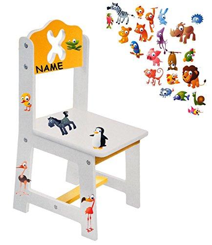 alles-meine.de GmbH Stuhl für Kinder - aus sehr stabilen Holz -  lustige Zootiere - weiß / gelb  - incl. Name - Kinderstuhl - Beistellstuhl - Kindermöbel für Jungen & Mädchen -..