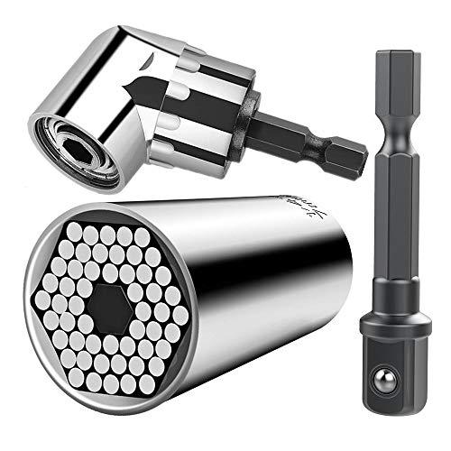 Handwerkzeuge Universalschlüssel, 7-19mm Steckschlüssel Powergrip Universalschlüssel Universalnuss für Schrauben und 105° Angle Halter Winkelschrauber Vorsatz Adapter 1/4 Zoll sechskantiger Griff