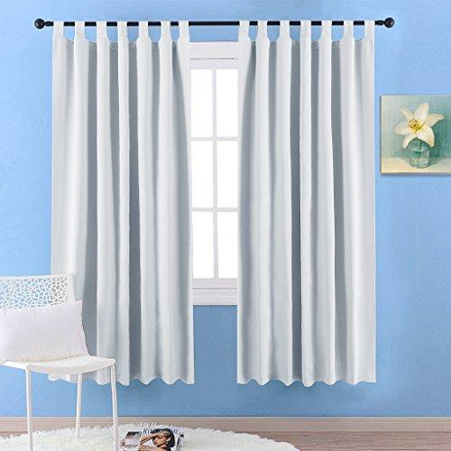 Blickdichte Vorhänge Gardinen mit Schlaufen - PONYDANCE 2 Stücke unifarbene Verdunklungsgardine Schlaufenschal 2 Platten für Babyzimmer,175 cm x 140 cm (H x B), Grau-weiß