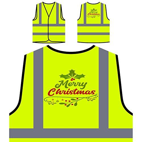 (Fröhliche Weihnachten Personalisierte High Visibility Gelbe Sicherheitsjacke Weste u151v)