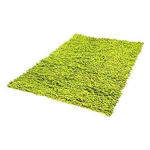 Chenille Shaggy Badvorleger APFELGRÜN GRÜN 50 x 80 cm aus 100% Baumwolle - Badezimmerteppich aus reiner Baumwolle, weich und saugstark