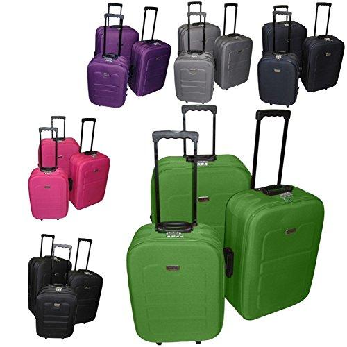 Kofferset 3tlg EVA Polyester Reisekofferset Rundum Reißverschluss, Farben Koffer:lime-grün