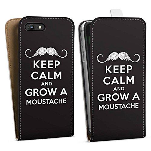 Apple iPhone X Silikon Hülle Case Schutzhülle Keep calm and grow a moustache Sprüche Statement Downflip Tasche weiß