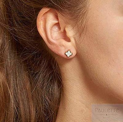 Boucles d'oreilles - puces Trèfle avec nacre