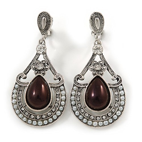 Vintage inspiriert Tropfenform Kristall, Faux Pearl Clip auf Ohrringe in gealtertem Silber Tone-50mm L