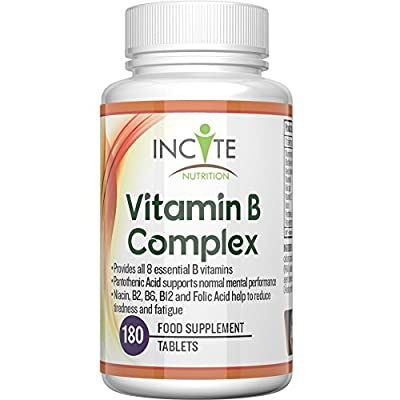 Vitamin B Complex High Strength - 180 Small 6mm Tablets (6 Month Supply) UK MANUFACTURED Contains All 8 B Vitamins With B1 B2 B3 B4 B5 B6 B7 Biotin B9 Folic Acid & B12 Methylcobalamin from Incite Nutrition