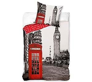 Parure de lit London Londres Cabine téléphone rouge - Lit 1 personne Coton