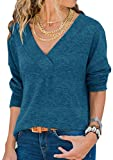 Damen Sweatshirt Langarmshirt V-Ausschnitt Pullover Casual Sport Shirt Oberteile mit Tie Back Neu-blau L