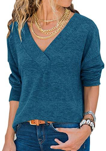 Damen Sweatshirt Langarmshirt V-Ausschnitt Pullover Casual Sport Shirt Oberteile mit Tie Back Neu-blau M