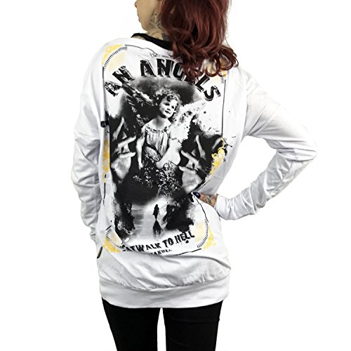 Yakuza Original Damen An Angels Wide Crew Shirt Longsleeve Weiß