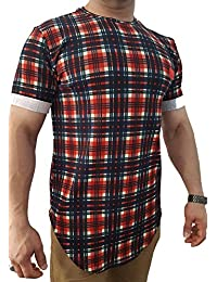 Vip Clothing Tshirt kariert Rot Blau Mehrfarbig Oversized für Herren