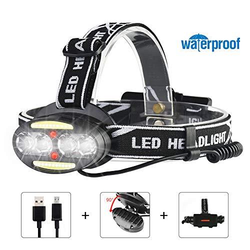 WONSUN Stirnlampe LED, Kopflampe USB Wiederaufladbare 10000LM und 7 Modi, Wasserdicht Scheinwerfer Kopfleuchte 90°Verstellbar mit 4*CREE+2*COB+2*Rot LED, Ideal für Wandern Camping Jagd Angeln Laufen