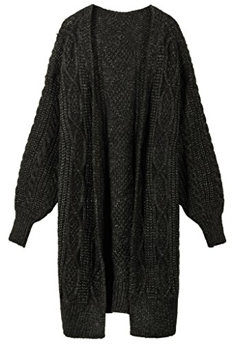 Vogueearth Damen's Lang Hülse Knit Cardigan Strickjacke Sweater Sweatshirt Schwarz (Sleeveless Black V-neck Sweater Knit)