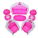 STOREINBOX 6 pcs Dollhouse Furniture Living Room Parlour Sofa Set for Barbie Accessories