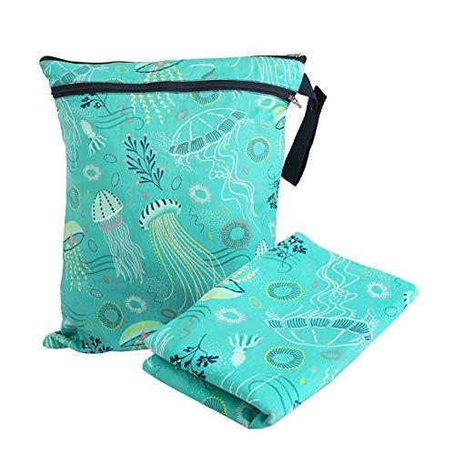 Ouken Wiederverwendbare Tuch-Windel nass Beutel mit Windel-Mat-wasserdichter trockenen Windel-Taschen-Tasche mit Zwei Reißverschluss-Tasche Grün 1Set
