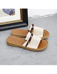 LIXIONG zapatillas Hembra verano Sencillo Fondo plano antideslizante zapato, Adecuado para 18-40 años de edad,...