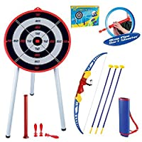 Rexco SPDH1028 Childrens Kids Toy Bow & Arrow Archery Set and Target Outdoor Garden Fun Game Robin Hood, Multi Colour