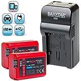 Baxxtar RAZER 600 II chargeur 5 en 1 + 2x Baxxtar Batterie pour Sony NP-FW50 (1080mAh / InfoChip) -- NOUVEAU avec entrée micro USB plus Sortie USB pour charger simultanément un troisième dispositif (GoPro, iPhone, tablette, smartphone, etc ..) pour -- Sony ILCE QX1 Alpha 5000 5100 6000 6300 6500 Alpha 7 CyberShot DSC RX10 -- Sony NEX-6 NEX-F3 NEX-7 NEX-7B NEX-7C NEX-7K NEX-3 NEX-3N NEX-C3 Nex-5 NEX-5N NEX-5K NEX-5R SLT A55 A33 A35 A37 A3000