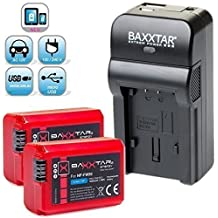 Baxxtar Razer 600 II - Cargador de batería 5 en 1 para baterías Sony NP-FW50 ( 70% más de potencia, 100% más de flexibilidad) con 2x Baxxtar PRO Energy baterías para Sony NP-FW50 Cargador con entrada de MicroUSB y salida USB para recarga de otros dispositivos móviles