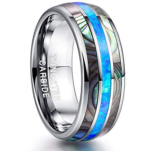 NUNCAD 8mm Ring Damen Herren Silber mit Muschel/Opal Blau aus Wolframcarbid für Hochzeit Verlobung Geburtstag Größe 66 (26)