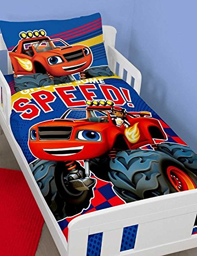 New wendbar Blaze & AJ Monster Maschinen Bettbezug Bettwäsche Set Kinder Junge Mädchen, Blaze Speed, Cot Bed/Junior/Toddler Look-up-nummer