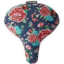 Basil Bloom Saddle Cover - Fundas de sillín para mujer, color azul estampado / rojo / rosa / verde