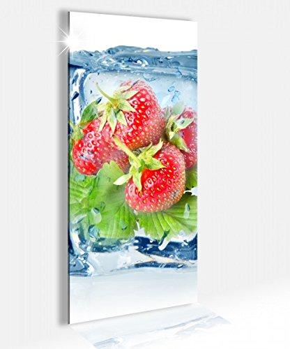 Acrylglasbild 40x100cm Erdbeeren Eiswürfel Frucht Eis Glasbild Bilder Acrylglas Acrylglasbilder Wandbild 14B323, Acrylglas Größe2:40cmx100cm