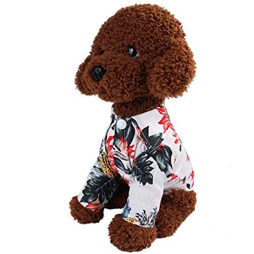 EUCoo Pet Kleidung Welpen Katze FrüHling Und Sommer Hawaiianer Baumwollhemd Haustier Rock Gedruckt Pet Kleidung(Weiß, L)