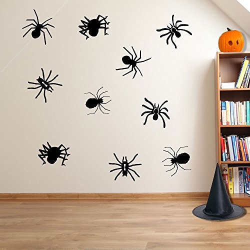 Halloween Spooky Halloween Spinnen Spider Wand Dekorationen Fenster Aufkleber Wall Decor Sticker Wall Art Aufkleber Sticker Wand Aufkleber Aufkleber Wandbild Décor DIY Deco Abnehmbare Wandaufkleber Colorful Aufkleber, Vinyl, 01 - Black, M (Spooky Halloween Dekoration)