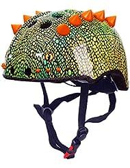 HWJF Casco Deportivo para niños Dinosaurio Casco 3D Bicicleta para jóvenes Scooter de Equilibrio Casco para automóvil con Carcasa de PVC Ajustable + Forro de Espuma RPS de Alta Densidad,M