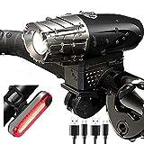 asbter Luci per Bicicletta, Luci Bicicletta LED Ricaricabili USB con Clacson, Luce Bici Anteriore e Posteriore Super Luminoso Luce Bici LED per Bici Strada e Montagna- Sicurezza per Notte