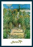 Bild mit Rahmen Claude Monet - Artist 's Garden at Vetheuil - Holz blau, 50 x 70cm - Premiumqualität - Impressionismus, Garten, Gartenweg, Kind, Sonnenblumen, Blumen, Licht / Schatten, Blüten.. - MADE IN GERMANY - ART-GALERIE-SHOPde