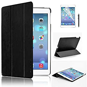 Swees® Ultra Slim Apple iPad Air (5th 2013 Version) Case Cover, Full Protection Smart Cover for iPad Air iPad 5 5th With Magnetic Auto Wake & Sleep Function + Screen Protector & Stylus Pen - Black