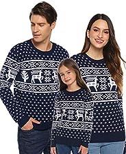 Aibrou Suéter de Navidad para Familia,Jersey de Copos de Nieve de Renos navideños para Mujer Hombre,Jersey Pul