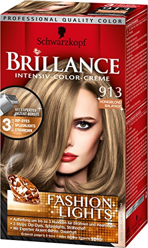 Brillance Intensiv-Color-Creme, 913 Honigblond Balayage Fashion Lights, 3er Pack (3 x 113 ml)