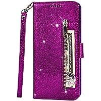 Fanxwu Cover Compatible con Funda iPhone 11 Pro MAX(6.5'') Glitter Brillante PU Cuero Cartera con Cremallera y Ranura Tarjetas Libro Tapa Flip Case - Púrpura