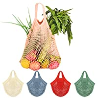 Creatiees Net Shopping Bag, 5Pcs Reusable Mesh Cotton Shopping Tote Handbag, Portable String Bag Organizer for Grocery Shopping/Outdoor Packing/Storage/Fruit/Vegetable(5 Colors)
