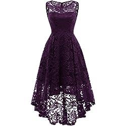 MuaDress Vestido Cóctel Vintage A-línea Hi-Lo Elegante Mujer Flor Encaje Vestidos De Fiesta Morado M