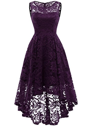 MuaDress MUA6006 Elegant Kleid aus Spitzen Damen Ärmellos Unregelmässig Cocktailkleider Party Ballkleid Grape XS
