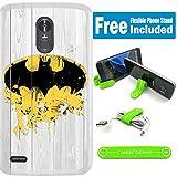 [Ashley Cases] LG [Aristo] [K82017] [MS210(Lv3)] Coque avec support flexible téléphone–Batman Bois Blanc